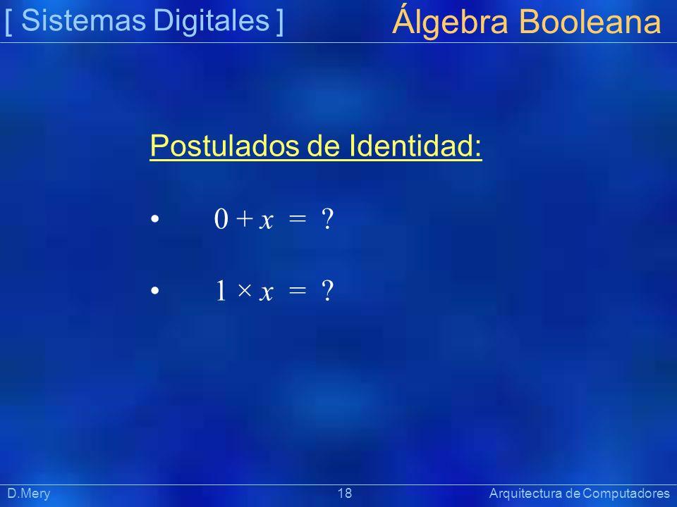 Álgebra Booleana [ Sistemas Digitales ] Postulados de Identidad: